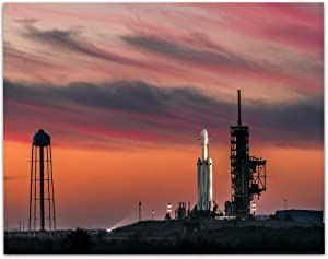 Lone Star Art SpaceX Falcon Heavy Demo Mission Sunset - 11x14 Unframed Print - Great Gift and Decor for Aerospace Enthusiasts, Rocket and Space Transportation Geeks Under $15