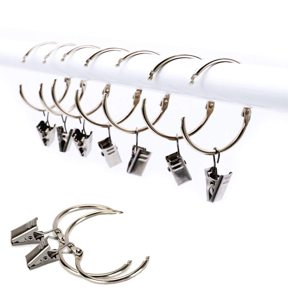 XQ7 25 pezzi Anello per tende con Clips Hook, Acciaio inossidabile Tendaggi della finestra Anello appeso, Metallo antiruggine, Facile aperto e Vicino, 38 millimetri Diametro interno (Argento)