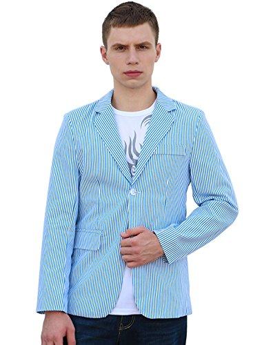 Allegra K Men Vertical Stripes Notched Lapel Two-Button Blazer Blue White L