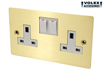 Budownictwo Volex 13A Double Switched Socket 2 Gang Wall Socket in Brushed Chrome w/Black