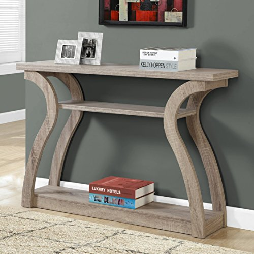 Open Concept Design 3 Shelf Space Dark Taupe Hall Console Table by Monarch Accent