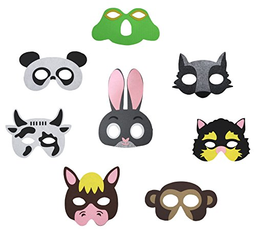 Dress Up As Animals (Petitebella 8 Packs Animal Eyewear Mask Dress Up Costume for Children Part 2 2+ (One)