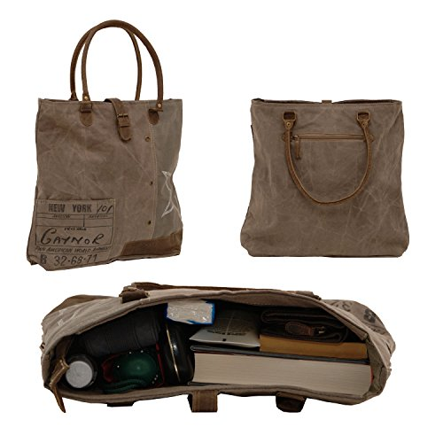 SUNSA Finely Detailed Vintage Damen Schultertasche Shopper Canvas mit Leder stone washed - by ModaStore de