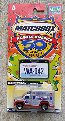 2001 Matchbox - 2001 Matchbox Across America 50 States Washington 42 Apple Country Ambulance Mint In Package