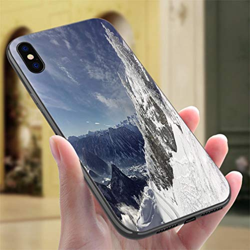 Freeride Rear - Creative iPhone Case for iPhone XR Freeride Slopes Glacier Dachstein Austrian Alps Panorama Resistance to Falling, Non-Slip,Soft,Convenient Protective Case