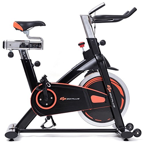 Goplus Exercise Bike Indoor Stationary Bicycle Cardio Fitness Cycle Trainer Heart Pulse w/LED Display for Home Gym Cycling Workout (Style 4)