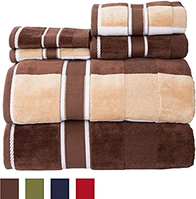 Lavish Home 100Percent Cotton Oakville Velour 6Piece Towel Set