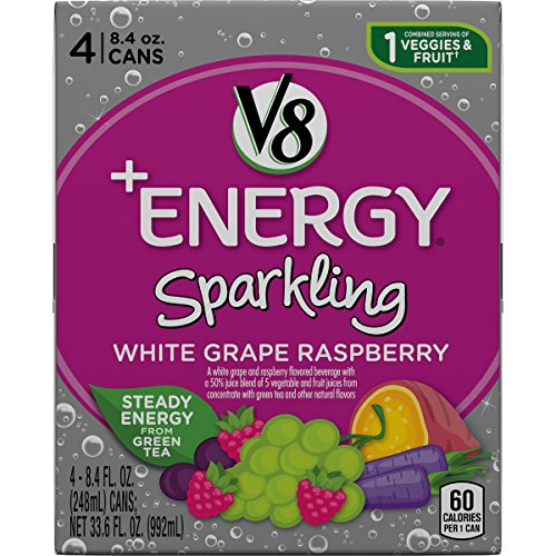 V8 +Energy Sparkling Healthy Energy Drink, Natural Energy from Tea, White Grape Raspberry, 8.4 Oz Can (24 Count)
