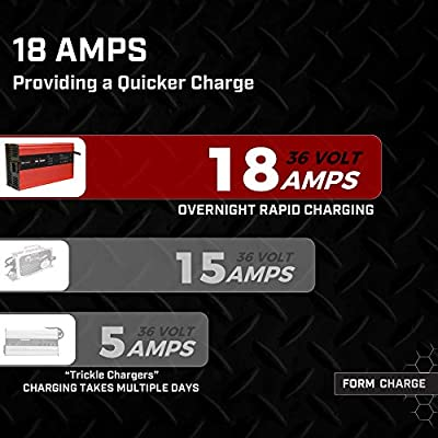 FORM 18 AMP Battery Charger for 36 Volt Club Car, EZGO & Yamaha Golf Carts with Crowfoot Plug: Automotive