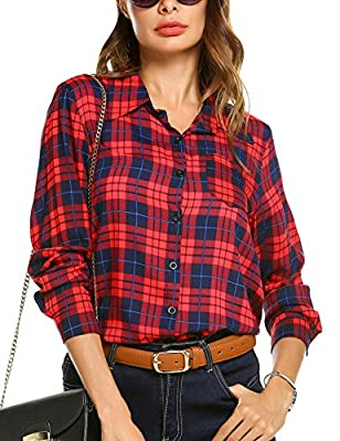 EASTHER Women Cotton Plaid Shirt, Unique Irregular Hem Casual Sleeve Boyfriend Checkered Button Down Shirt