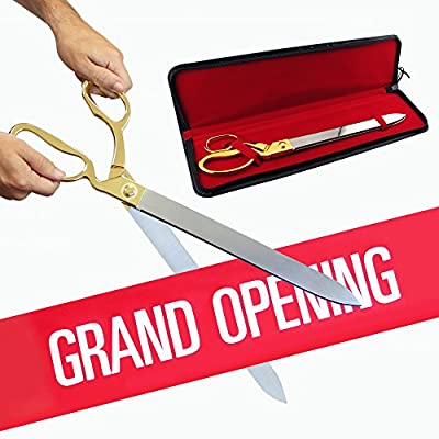 "FREE Grand Opening Ribbon with 20"" Gold Plated Handles Ceremonial Ribbon Cutting Scissors and Case"