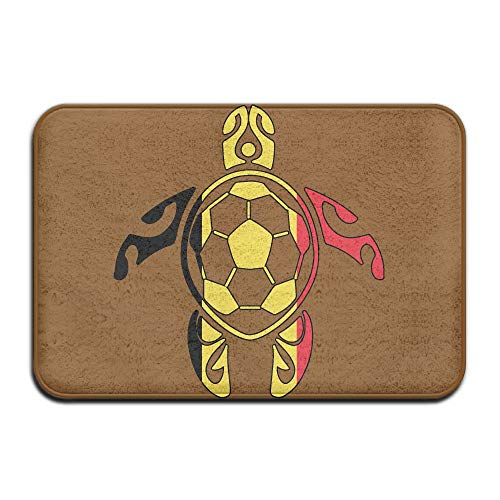 Youbah-01 Indoor/Outdoor Absorbs Mud Doormat with Belgium Flag Soccer Sea Turtle Pattern for Front Porch by Youbah-01