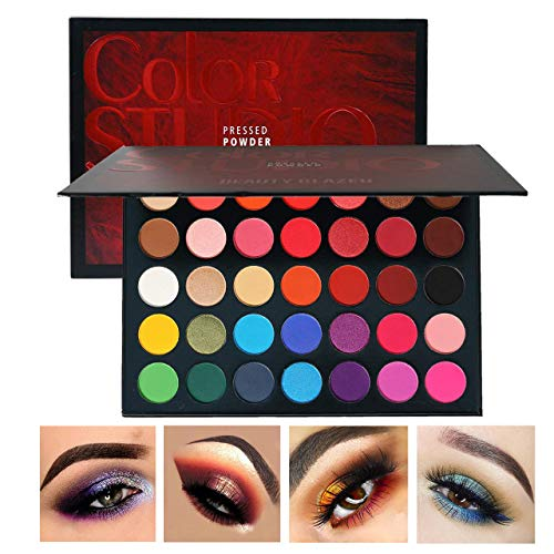 Halloween Eyeshadow Makeup Tutorial (Beauty Glazed Sweatproof Matte and Shimmer Eyeshadow Make up Palettes Highly Pigmented 35 Colors Professional and Home Make up Big Palette Blendable Pressed Powder Eye)