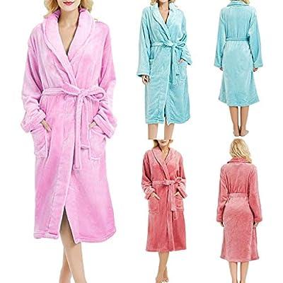 Women's Winter Nightwear,LuluZanm Ladies Lengthened Plush Shawl Bathrobe Sleepweer Long Sleeve Underwear Coat Black