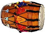 Punjabi Bhangra Dhol Bhangara Natural Mango wood dhol Indian Musical Instrument With Playing Sticks & Decoration Tussels latkan