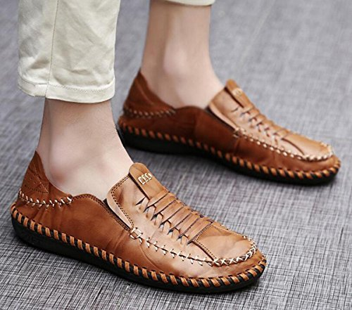 Beauqueen Men's Driving Loafers Casual Leathers Hilo de coser Respirable superior suaves Outsoles antideslizante Zapatos ocasionales UE tamaño 38-44 Brown