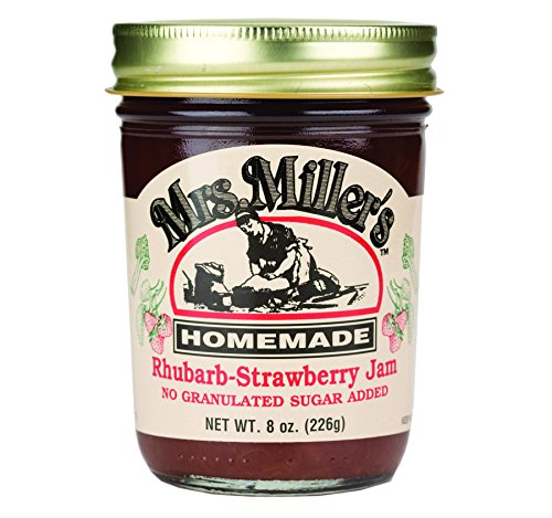 Mrs. Miller's Sugarless Jam Variety Pack: Rhubarb Strawberry, Seedless Red Raspberry, Peach (1 Jar of Each)
