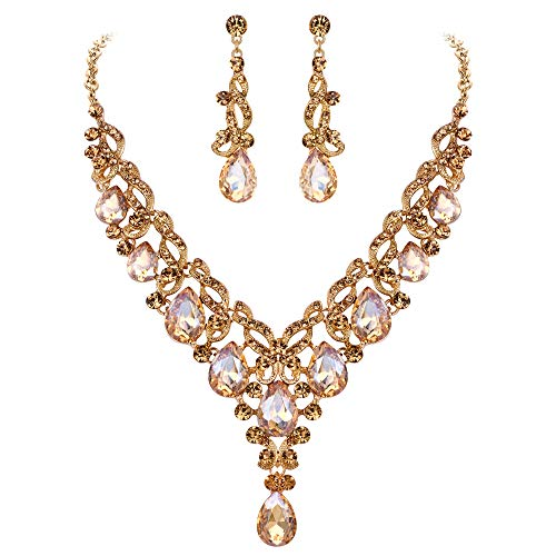 EVER FAITH Women's Crystal Elegant Floral Vine Wedding Teardrop Necklace Earrings Set Brown Gold-Tone Date Gold Tone Necklace