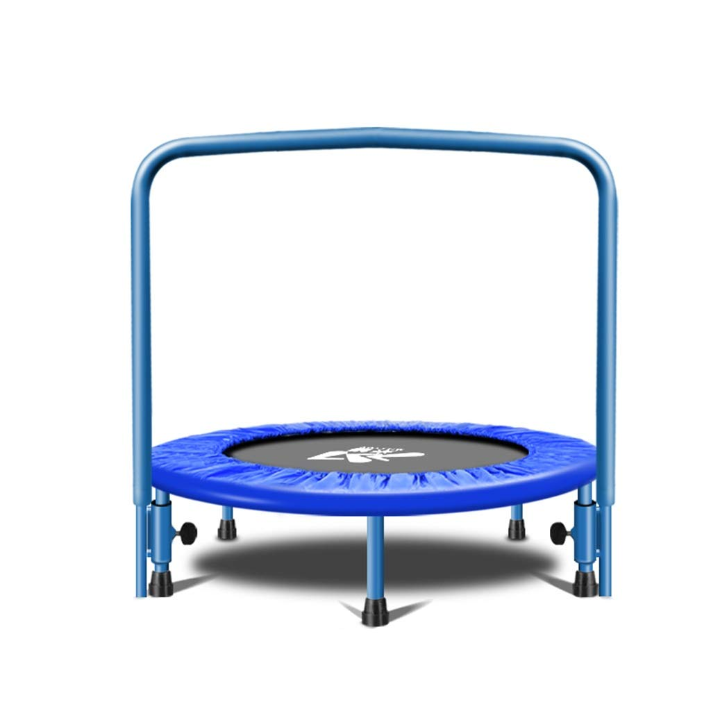 Djyyh 子供用トランポリン(青)成人用フィットネストランポリン家庭用肘掛け付き子供跳ね上がりベッド B07S342311