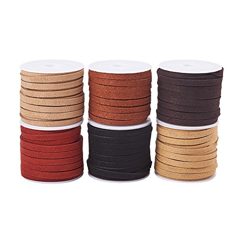 (PandaHall Elite 6 Rolls 5mm Flat Micro Fiber Faux Leather Suede Cords Lace Velvet Beading String 5.5 Yard per Roll for Jewelry Making 6 Colors)