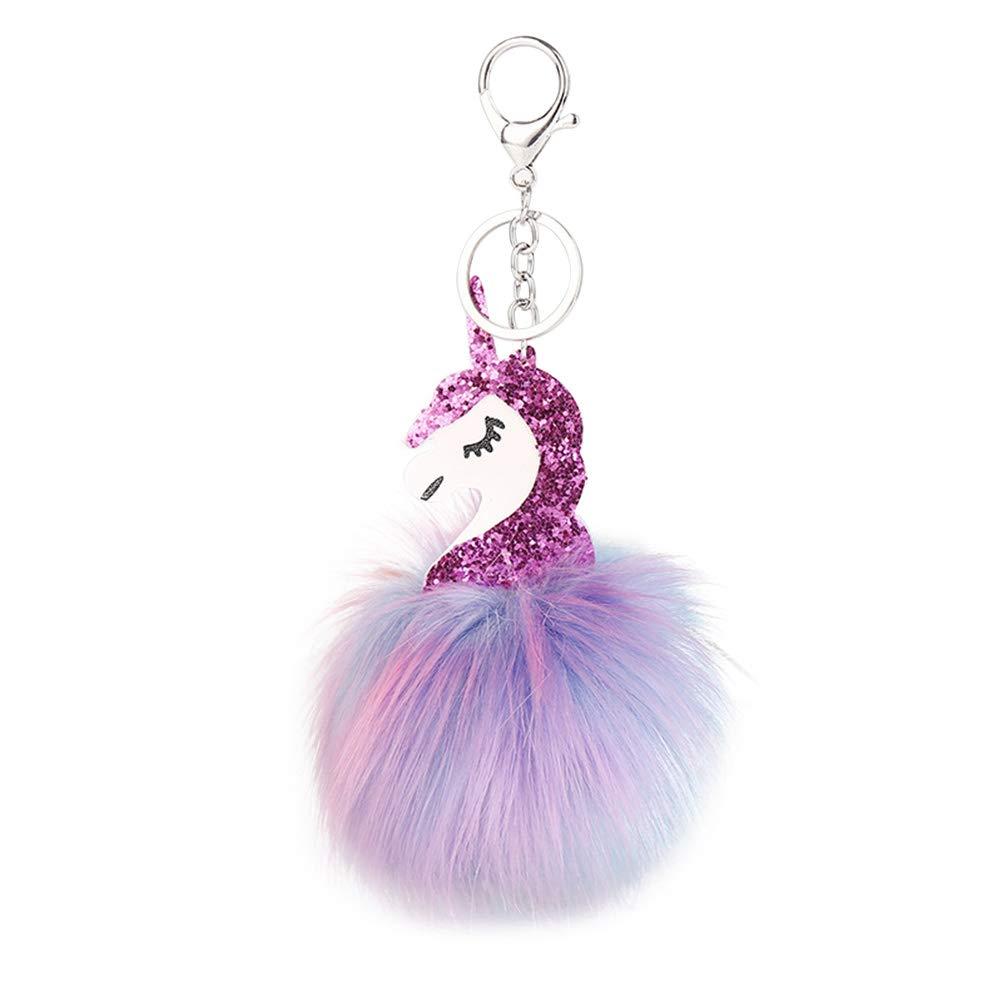 YeahiBaby Llavero con Forma de Unicornio y Purpurina Llavero con Forma de Bola de pellejo Pompó n y pompó n Llavero (Rosy)