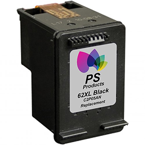 PS Products™ Remanufactured Ink Cartridge Replacement for HP 62XL High-Yield C2P05AN (1 Black) (Show Accurate Ink Levels)