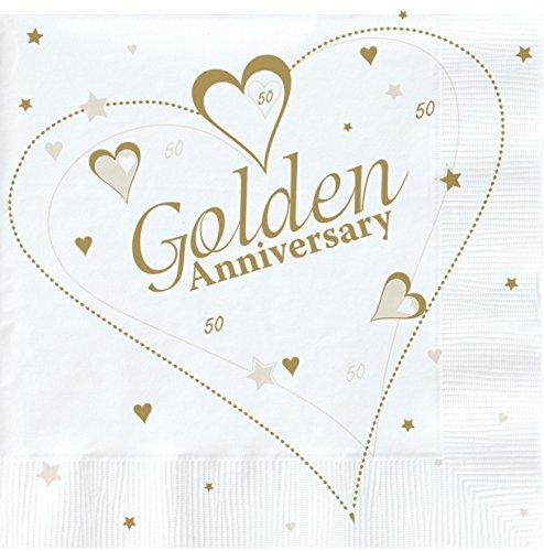 2x 18x Luxus Golden 50. Hochzeitstag Party Servietten