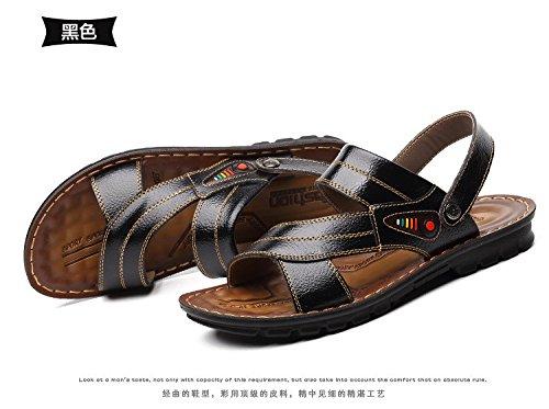 Sommer Männer Atmungsaktiv Sandalen Freizeit Wohnung Männliche Sandalen Trend Männer draussen Mode Strand Sandalen ,schwarz,US=8.5,UK=8,EU=42,CN=43