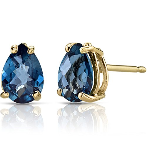 14K Yellow Gold Pear Shape 1.50 Carats London Blue Topaz Stud Earrings -