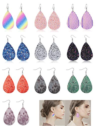 Adramata Dangle Leather Earrings for Women Teardrop Leaf Earrings statement jewelry (b1g:10 pairs)