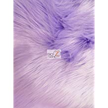 """FAUX FAKE FUR SOLID SHAGGY LONG PILE FABRIC - Lavender - 60"""" WIDTH SOLD BY THE YARD"""