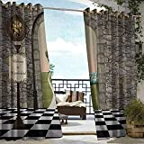 S Brave Sky Alice in Wonderland Outdoor Curtain Set of 2 Panels Welcome Wonderland Black and White Floor Landscape Mushroom Lantern Outdoor Curtain for Balcony Multicolor
