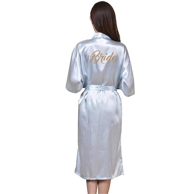 GODGETS Mujer Kimono Batas Vestidos Satén Largo Vestido de Dama de Honor Robe Albornoz: Amazon.es: Ropa y accesorios
