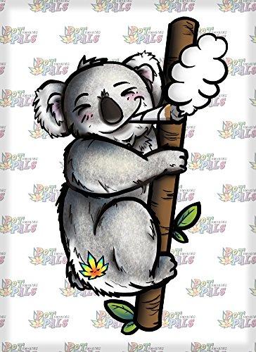 (Rectangle Refrigerator Magnet - Pot Smoking Pals Koala)