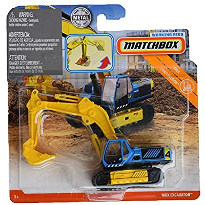 Matchbox Working Rigs Construction Excavator, Blue/Yellow: Toys & Games
