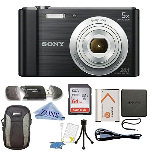 /B DSCW800B 20 MP Digital Camera 5x Optical Zoom (Black) Bundle with 64GB SDHC Memory Card, Table top Tripod, Deluxe Case, and Microfiber Lens Cloth ()