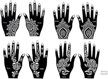 8 hojas de plantillas de tatuajes para la mano mehndi, de un solo ...