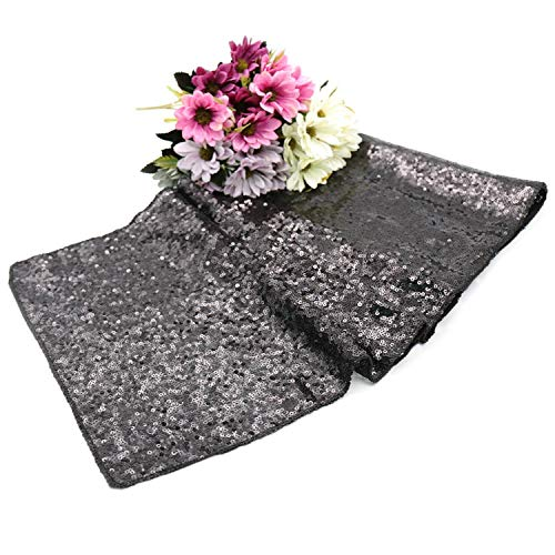 30x275cm Sequin Table Runner Glitter Fabric Rose Gold/Champagne Sparkly Wedding Party Event Christmas Banquet Bling Decoration,Black