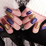 YUNAI False Nail for Women girls Medium Long French Nails Matte Purple Glitter Golden Mixed Color