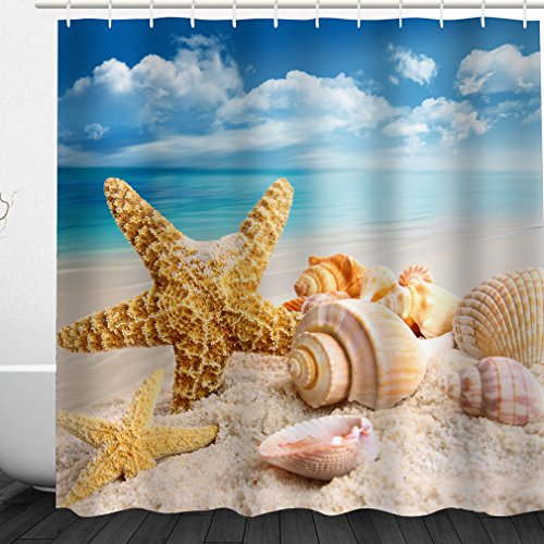 Miss-Loly 3D Seashell Conch Starfish Beach Blue Sky Digital Printing, Waterproof, Mildew Resistant Polyester Fabric Shower Curtain including 12 Hooks, 60'' x 72'' (Conch Blue Shell)