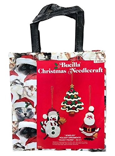 (Jeweled Holiday Ornaments Christmas Tree + Snowman + Santa Claus - Stamped Applique on Felt Vintage Bucilla Christmas Needlecraft Kit & Cats in Santa Hats Tote Bag Bundle )