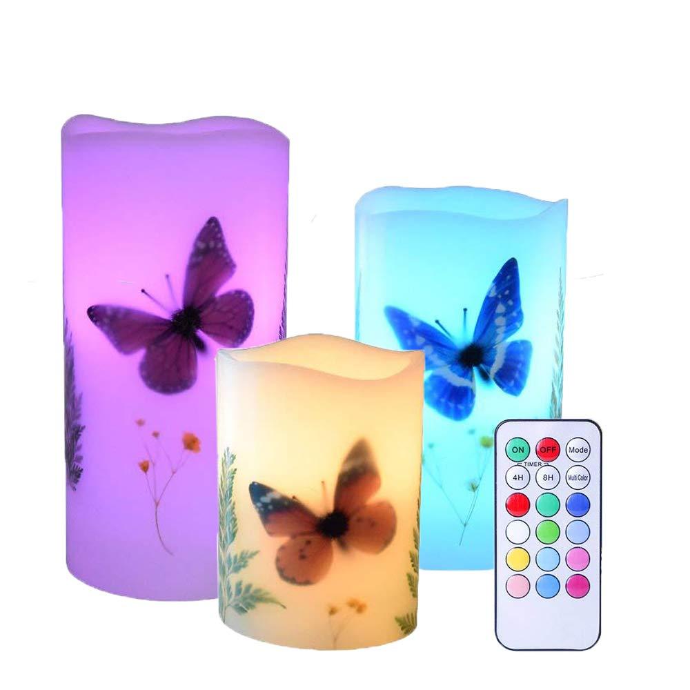 LED Echtwachs Kerze Set 3/Leuchter Seashell Elektrische Stumpenkerze Lampe batteriebetrieben flackernde Teelicht mit Fernbedienung f/ür Weihnachten Home Decor blau AVEKI Flammenlose Kerze