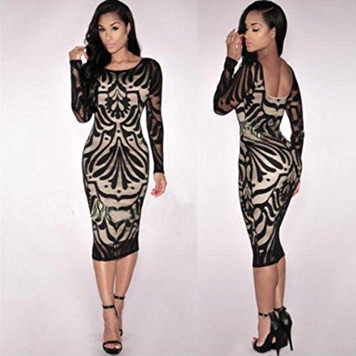 Wear Sleeve Party Dress Fashion L New Casual Elegant Skirt Sexy Black Black Ladies Women Daoroka Long Bodycon Work Cocktail Backless fvwC8fqxd7