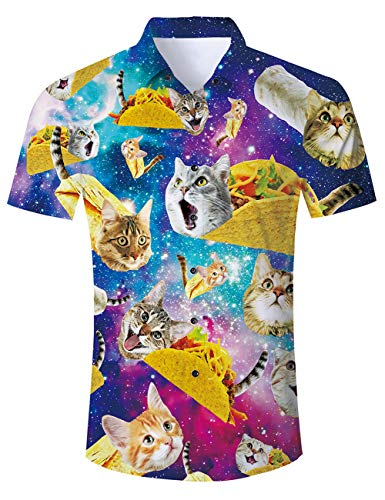 Goodstoworld Funny Pizza Cat Hawaiian Shirts 3D Print Fish Youth Beachwear Aloha Button Down Unique Dress Shirt Casual Polo Retro Awesome Camp Tropical Costumes Tee L -