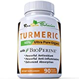 Cheap RaeSun Botanics No Root Powder! 25 x Potency Turmeric Curcumin Ultra Pure Highest Purity 95% Made with Organic Extract 650 mg per Capsule – 90 Veggie Caps with BioPerine No Proprietary Blends!