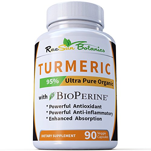 RaeSun Botanics No Root Powder! 25 x Potency Turmeric Curcumin Ultra Pure Highest Purity 95% Made with Organic Extract 650 mg per Capsule - 90 Veggie Caps with BioPerine No Proprietary Blends!