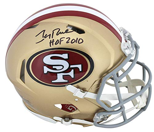 "49ers Jerry Rice""HOF 2010"" Signed Proline Full Size Speed Helmet BAS - Beckett Authentication - Autographed NFL Helmets"