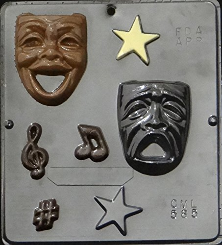Candy Molds N More Comedy Tragedy Theater Drama Faces Masks Chocolate Candy Mold 585, Qty 1, Clear Plastic 8