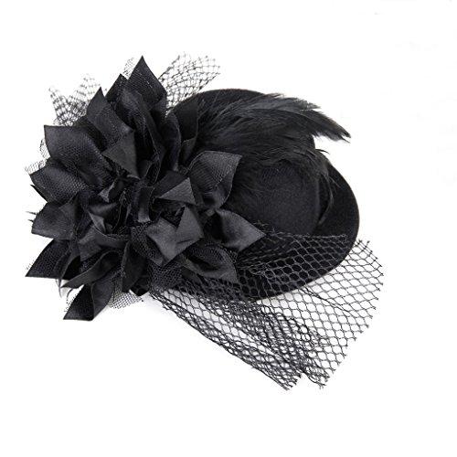 Lady Mini Hat - SODIAL(R)Women Adorned with Flowers Barrette Spring Burlesque Punk Mini Top Hat (Burlesque Mini)