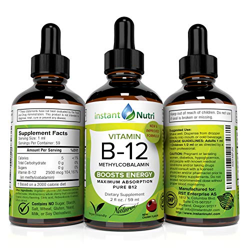 Vitamin B12 Methylcobalamin Sublingual Liquid Drops - Energy Boost and Pernicious Anemia Supplement - Best Absorbing Active Methyl B-12 for Kids Growth & Vegan Friendly. 2500 mcg VIT B 12, 2 fl oz (Best Diet For Pernicious Anemia)